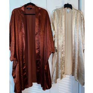 Two Satin Oversized Kimonos.